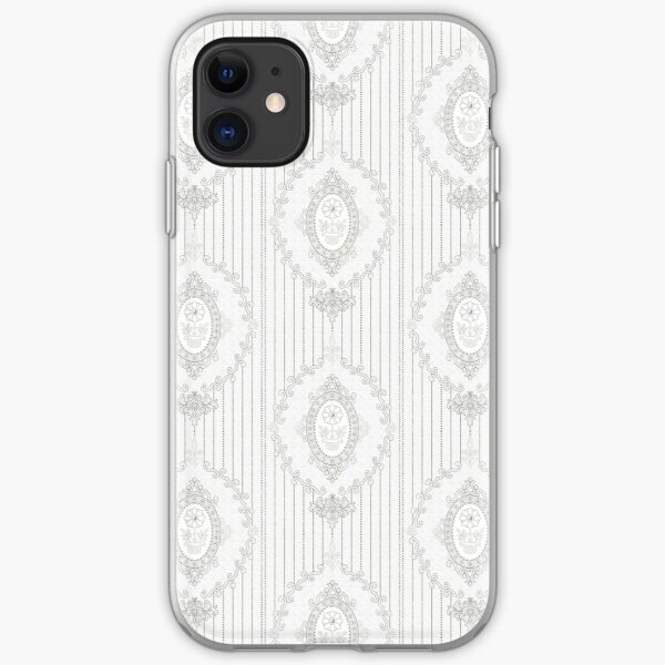 Baroque Wallpaper in Sketch BW 122019 iPhone Soft Case