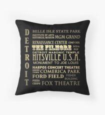Detroit Michigan Famous Landmarks Throw Pillow