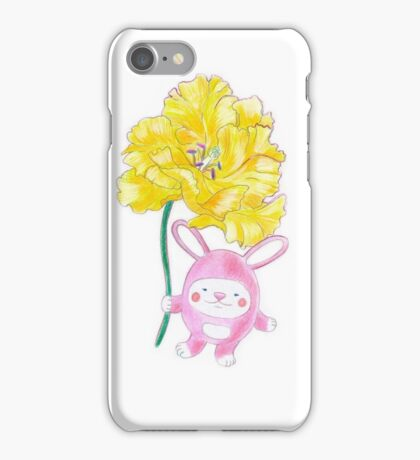 Bunny Pink with Yellow Peonia iPhone Case/Skin