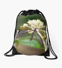 Open Glasswing on white flower - Greta oto Drawstring Bag