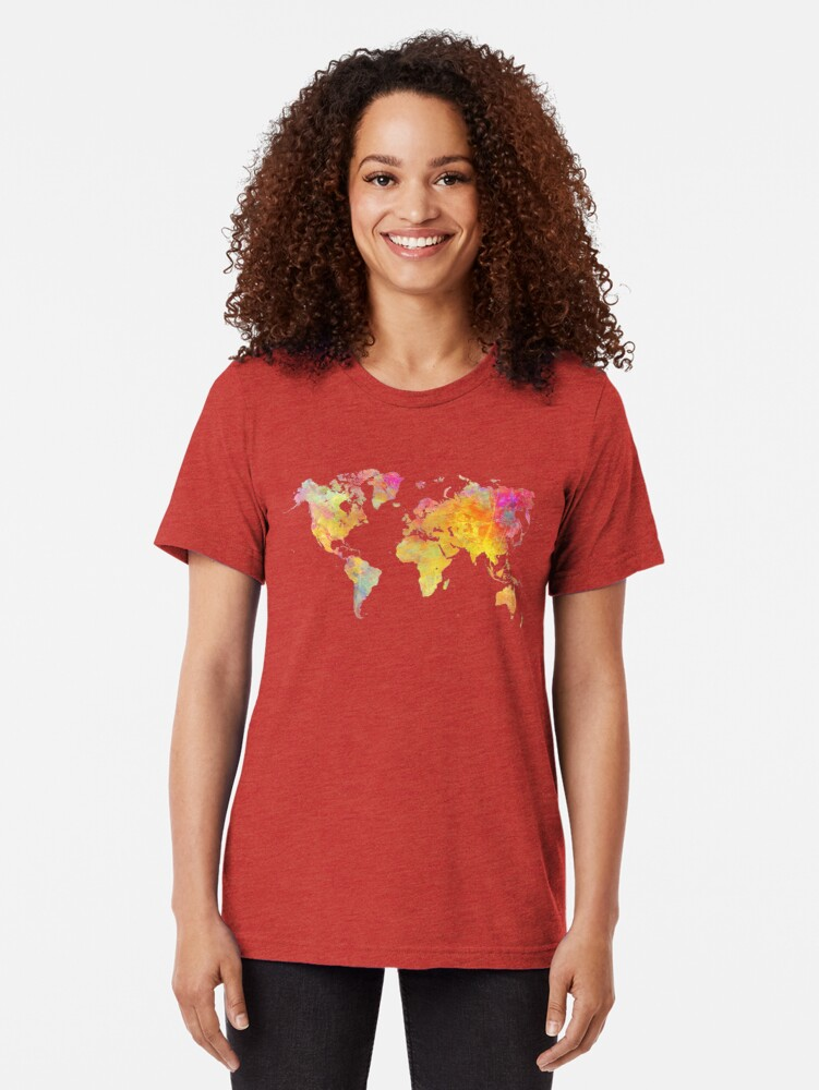 Alternate view of World Map  Tri-blend T-Shirt