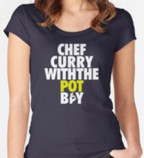 Chef Curry With The Pot Boy [With 3 Sign] White/Gold Women's Fitted Scoop T-Shirt