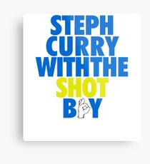 Steph Curry With The Shot Boy [With 3 Sign] Blue/Gold Metal Print