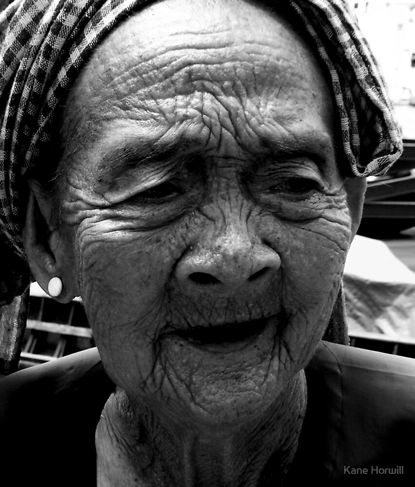 lines vietnam old lady wrinkles story war story think thinking by Kane Horwill