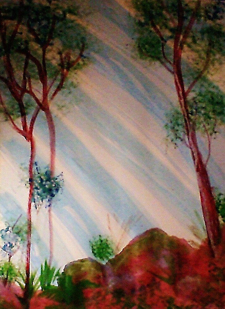 Trees in forest with light streaming thru, Series #2, watercolor by Anna  Lewis, blind artist