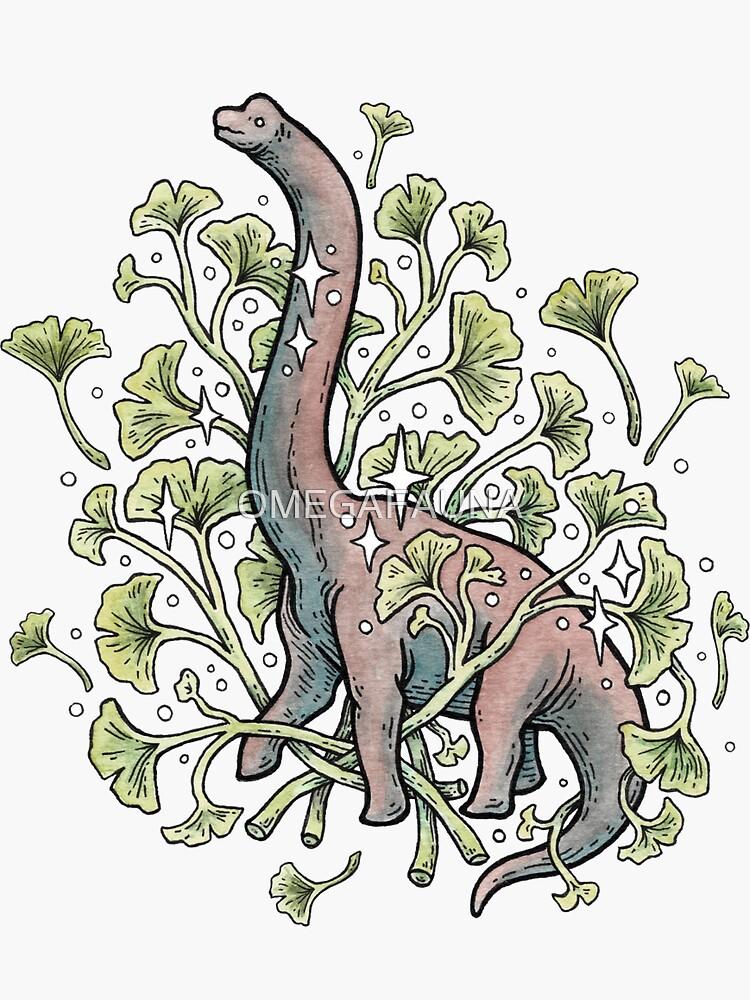 Brachio Ginkgo | Calm Color Palette | Dinosaur Botanical Art by OMEGAFAUNA