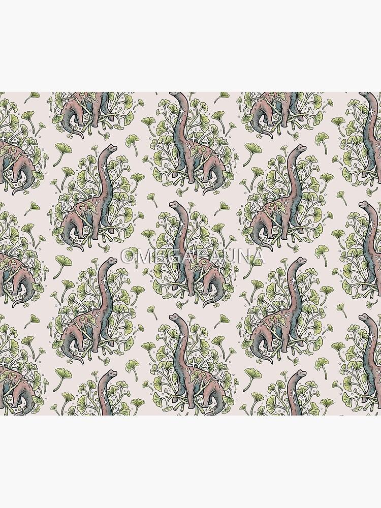 Brachio Ginkgo   Calm Color Palette   Dinosaur Botanical Art by OMEGAFAUNA