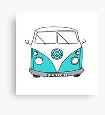 Retro Blue VW Van Canvas Print