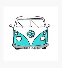 Retro Blue VW Van Photographic Print