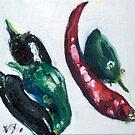 Chillies in a corner by Helen Imogen Field