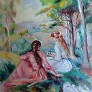 Two girls in a French countryside - Renoir copy by Helen Imogen Field