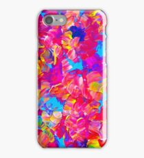 FLORAL FANTASY Bold Abstract Flowers Acrylic Textural Painting Neon Pink Turquoise Feminine Art iPhone Case/Skin