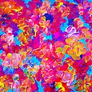 FLORAL FANTASY Bold Abstract Flowers Acrylic Textural Painting Neon Pink Turquoise Feminine Art by EbiEmporium