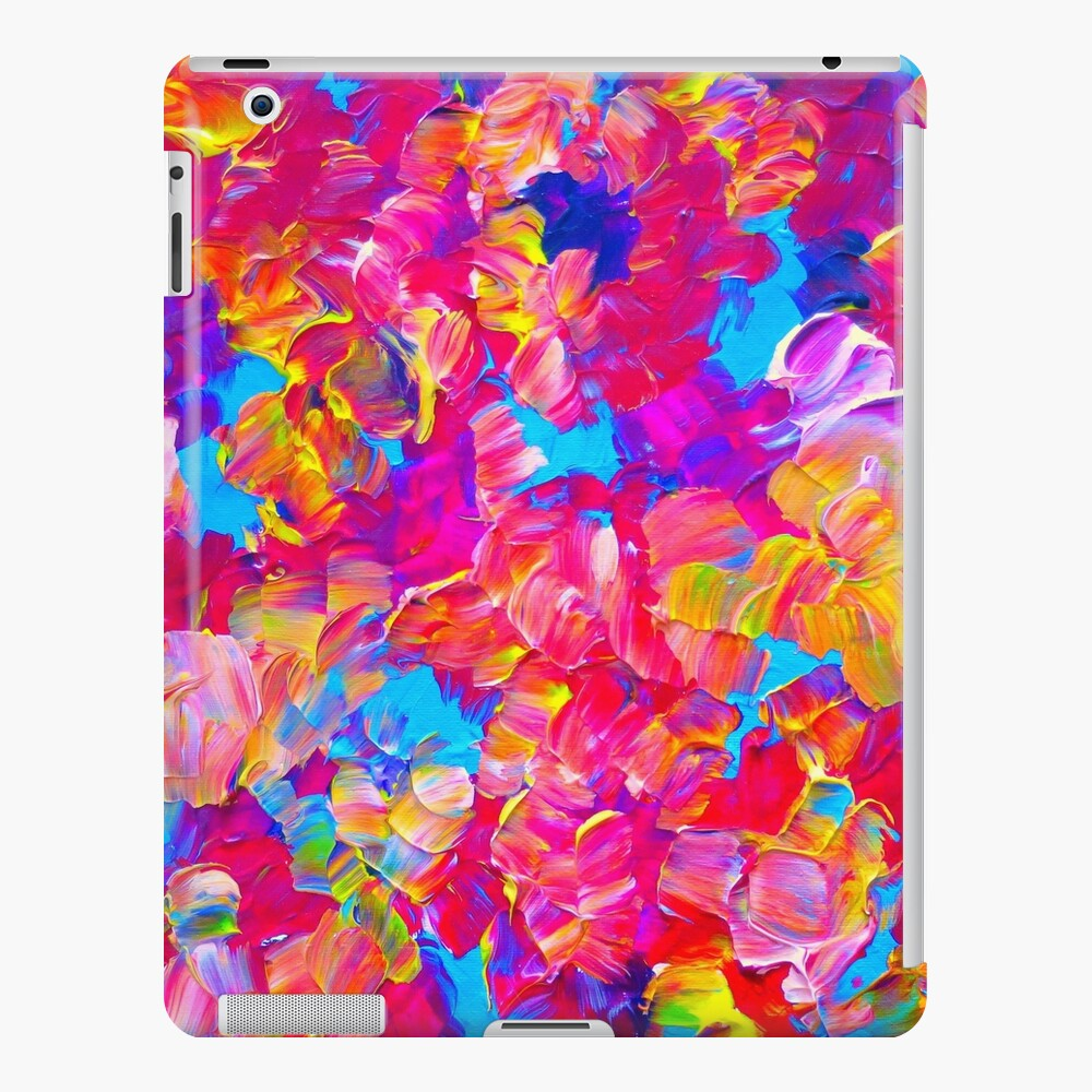 Floral Fantasy Bold Abstract Flowers Acrylic Textural Painting Neon Pink Turquoise Feminine Art Ipad Case Skin