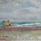 Fire Island - the sea with sunbathers by Helen Imogen Field