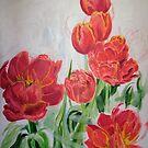 Red tulips by Helen Imogen Field