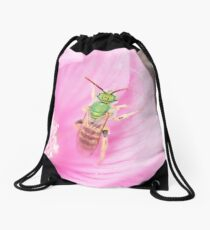 Green Metallic Bee Drawstring Bag