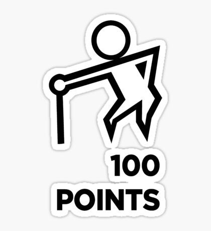 Death Race - Run Over Old People - Get 100 Points V2 - BLACK Sticker