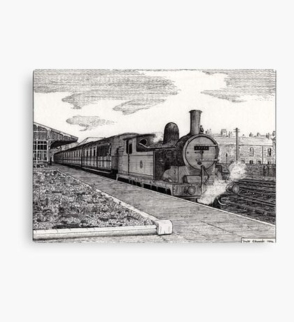 197 - STEAM TRAIN AT BLYTH (INK) 1994 Canvas Print