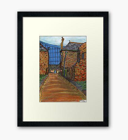 200 - COWPEN QUAY, BLYTH - COLOURED PENCILS - 2008 Framed Print