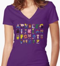 Gamer's Alphabet Women's Fitted V-Neck T-Shirt