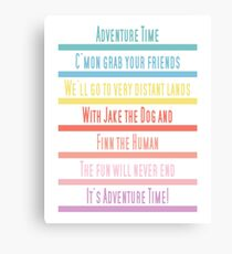 Adventure Time Theme Song Canvas Print