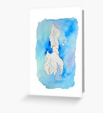 Blind Continuous Contour Squid Watercolor Greeting Card