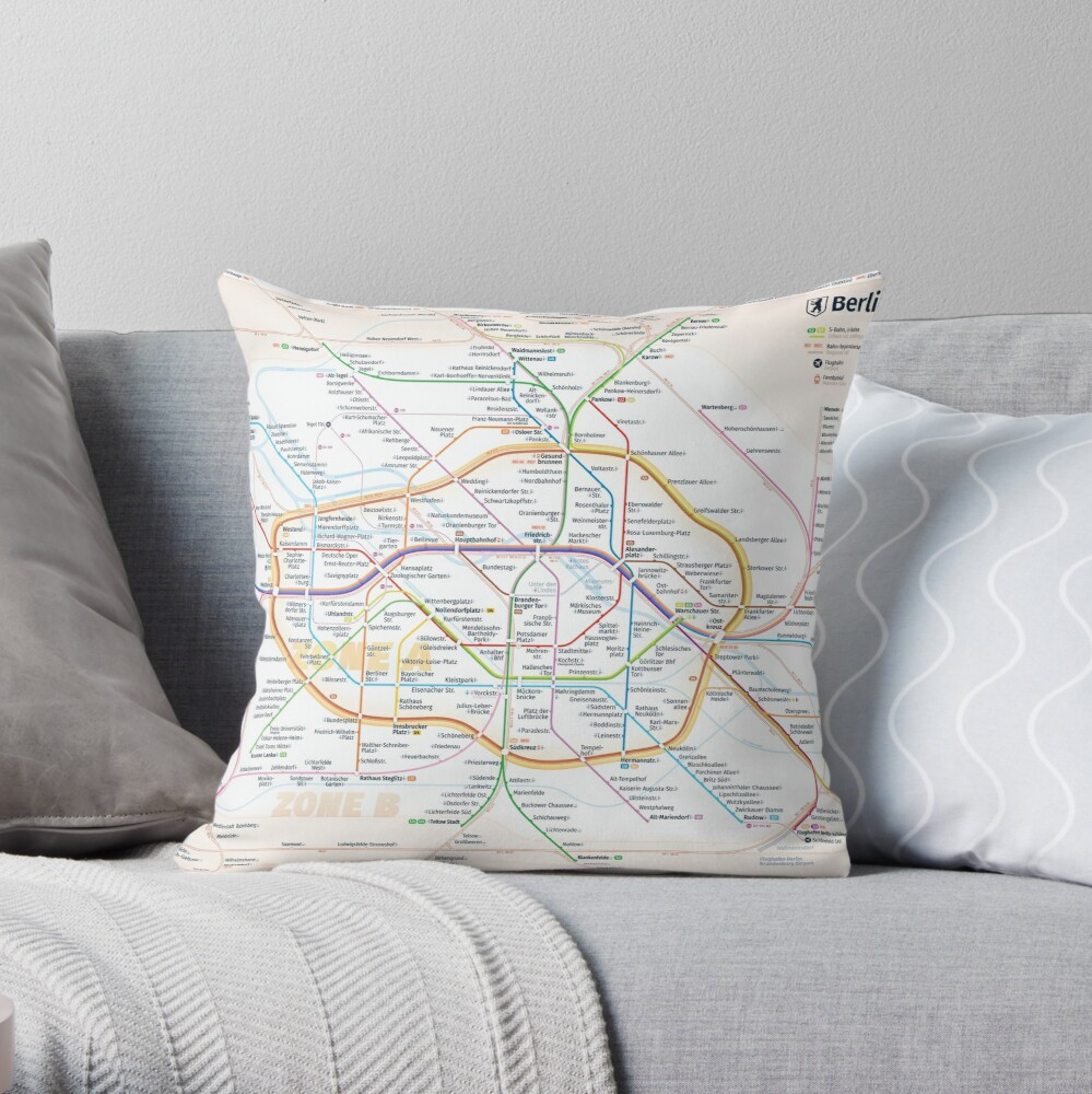New Berlin rapid transit route map (December 15, 2019) Throw Pillow