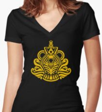 Zodiac Sign Aquarius Gold Women's Fitted V-Neck T-Shirt