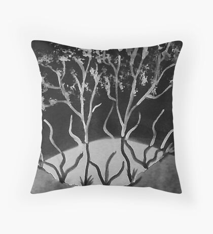Trees in abstract contrast, watercolor Throw Pillow