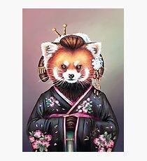 Lámina fotográfica Kimono de panda rojo