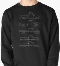 Evolution of the Chevy Pickup - profile stencil, white Pullover Sweatshirt