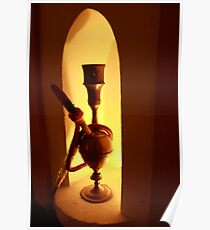 Waterpipe or Hookah by lamp light Poster