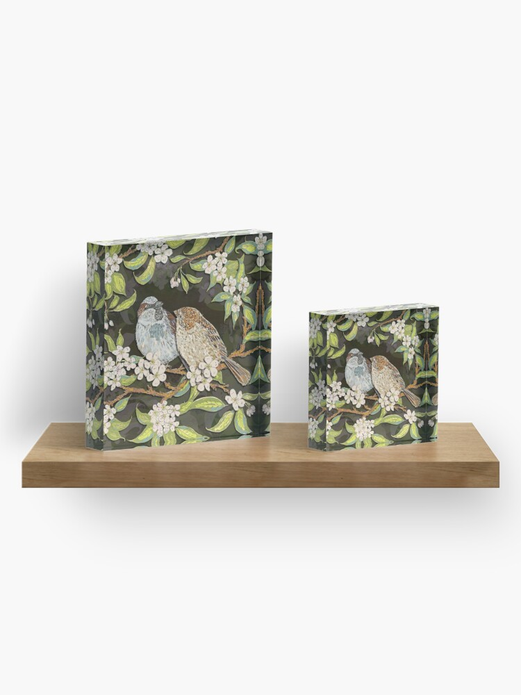 Alternate view of Sparrows in the Plum Tree Acrylic Block