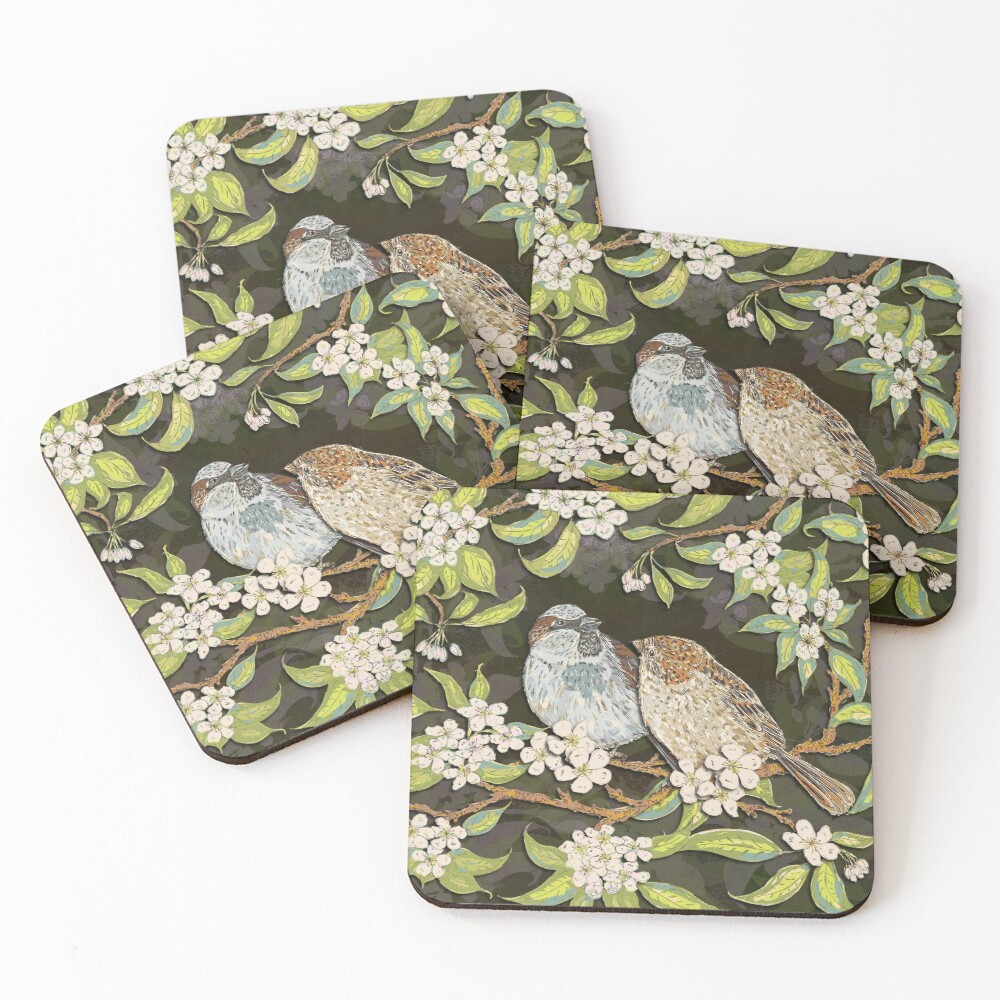 Sparrows in the Plum Tree Coasters (Set of 4)