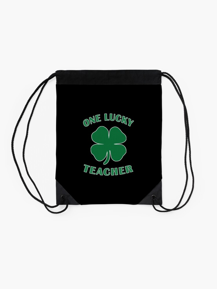 Alternate view of Lucky Teacher St Patrick Day Irish Shamrock gift. Drawstring Bag