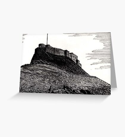 190 - LINDISFARNE CASTLE - DAVE EDWARDS - INK - 1991 Greeting Card