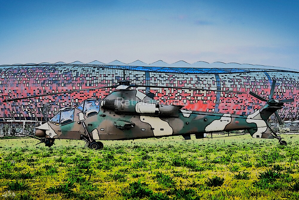 Rooivalk Helicopter and Soccer City by RatManDude