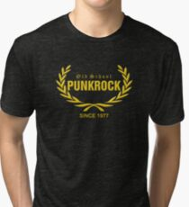 Old School PUNKROCK Since 1977 (in Gold) Tri-blend T-Shirt