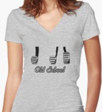 Old School Pedals Women's Fitted V-Neck T-Shirt