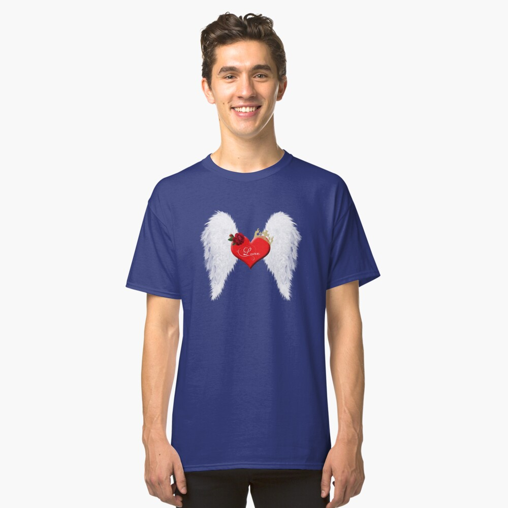 Love heart with wings, red rose and crown. Classic T-Shirt