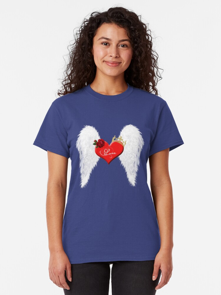 Alternate view of Love heart with wings, red rose and crown. Classic T-Shirt