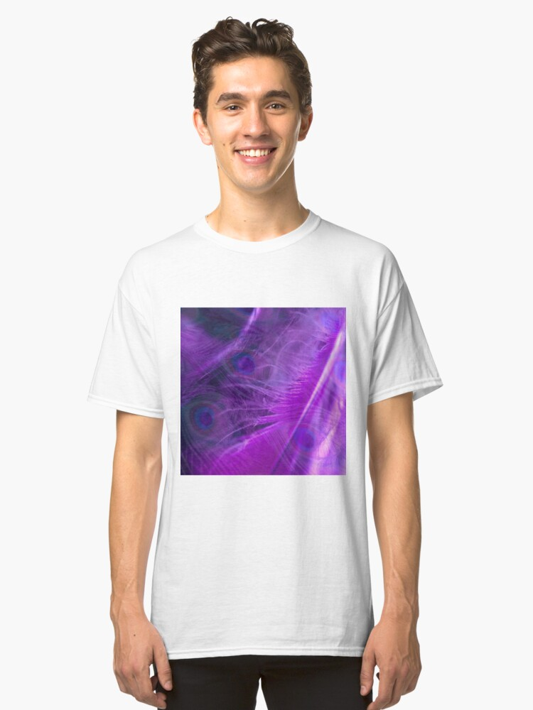 Alternate view of Purple Peacock Feathers Pattern  Classic T-Shirt