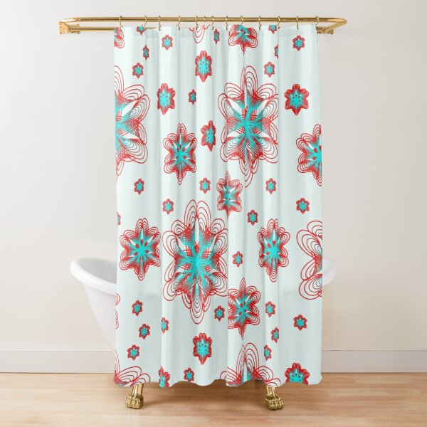 Spirographs with red and blue pattern Shower Curtain