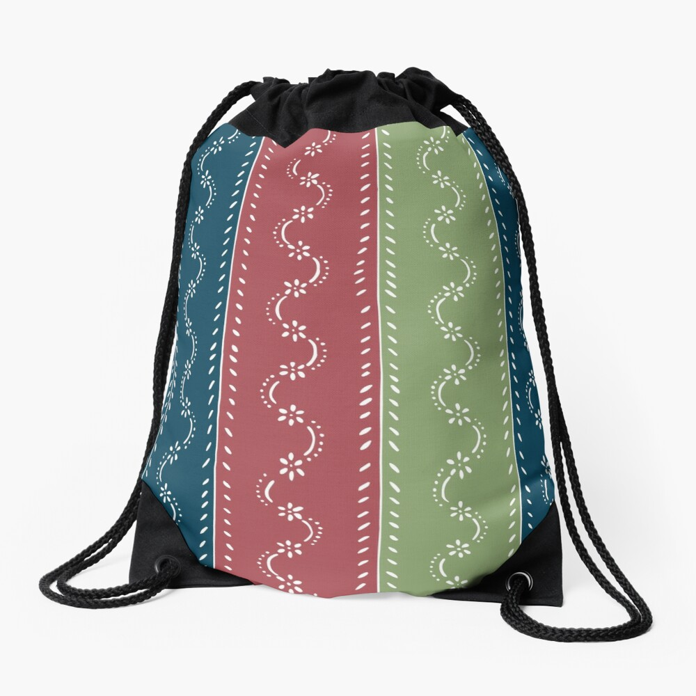 Retro scattered flowers, tri-colored in pastel-chalk colors Drawstring Bag