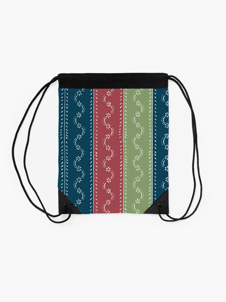 Alternate view of Retro scattered flowers, tri-colored in pastel-chalk colors Drawstring Bag