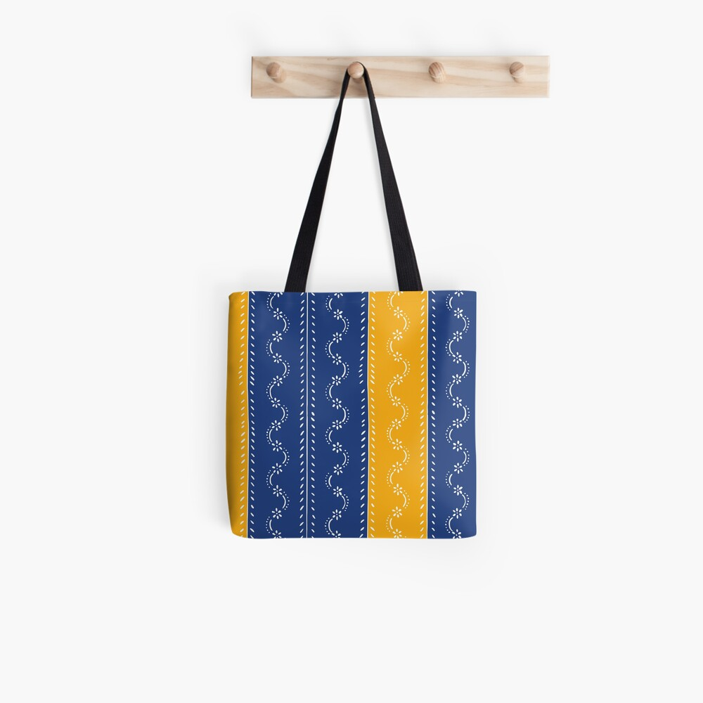 Scattered flowers blue-yellow in strong summer colors, vintage Tote Bag