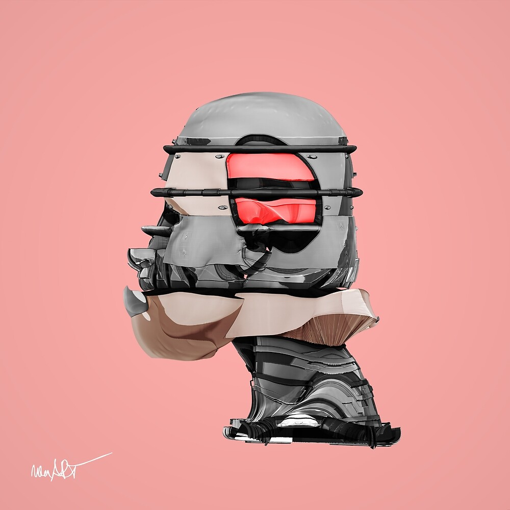 DISPLACEMIND I 12|2016 Rose - Print (Cyberpunk Displacement 3D-Render Digital Art) von nenART-Official