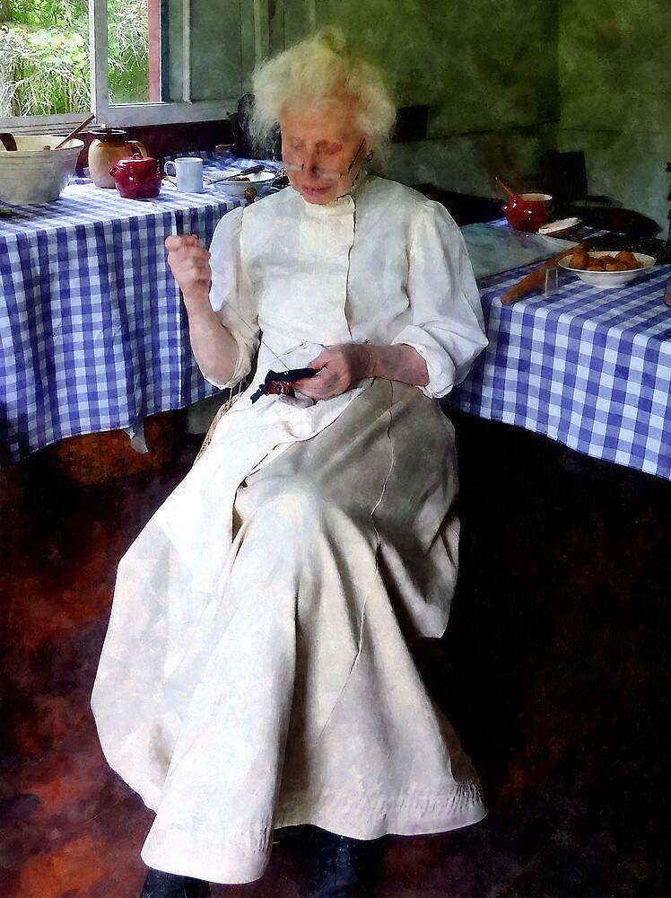 Grandma Sewing by Susan Savad
