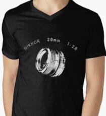 Nikkor 28mm White Mens V-Neck T-Shirt